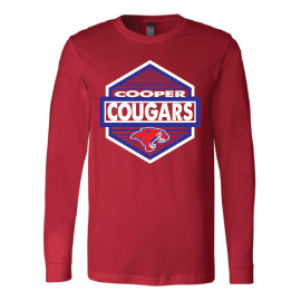 Cooper Cougars - Hexagon Long Sleeve T-Shirt