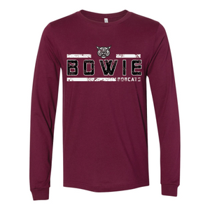 Bowie Bobcats - Striped Long Sleeve T-Shirt
