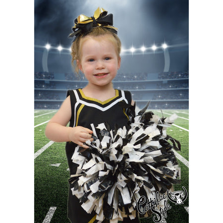 Black & Metallic Gold Cheer Suit