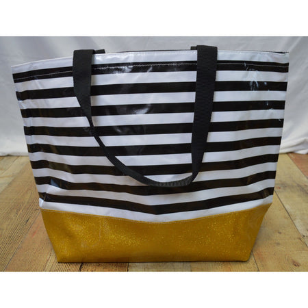 Large Striped Tote with Glitter Bottom