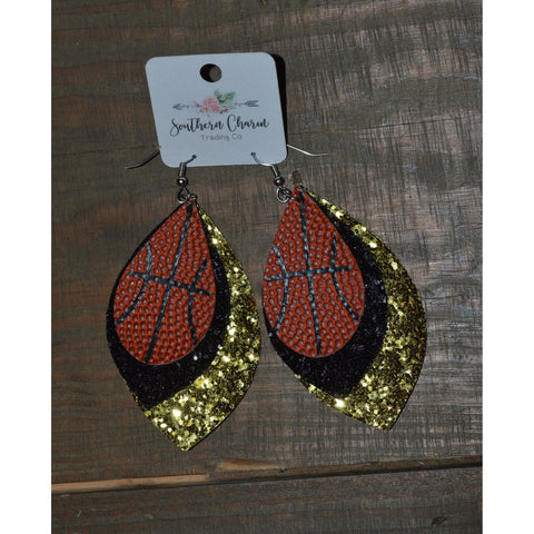 "3"" Layered Teardrop Basketball Earrings"