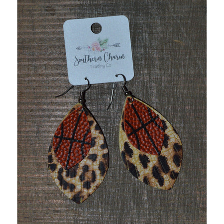 "2.5"" Leopard Basketball Earrings"