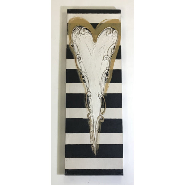 Horizontal Stripe with Heart Canvas 10x30