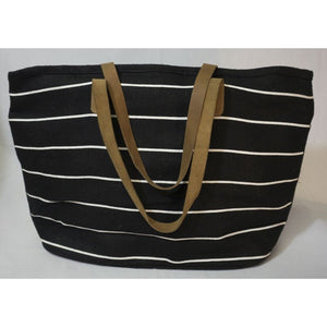 Pinstripe Tote in Black/White