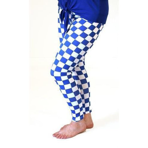 Blue & White Check Leggings