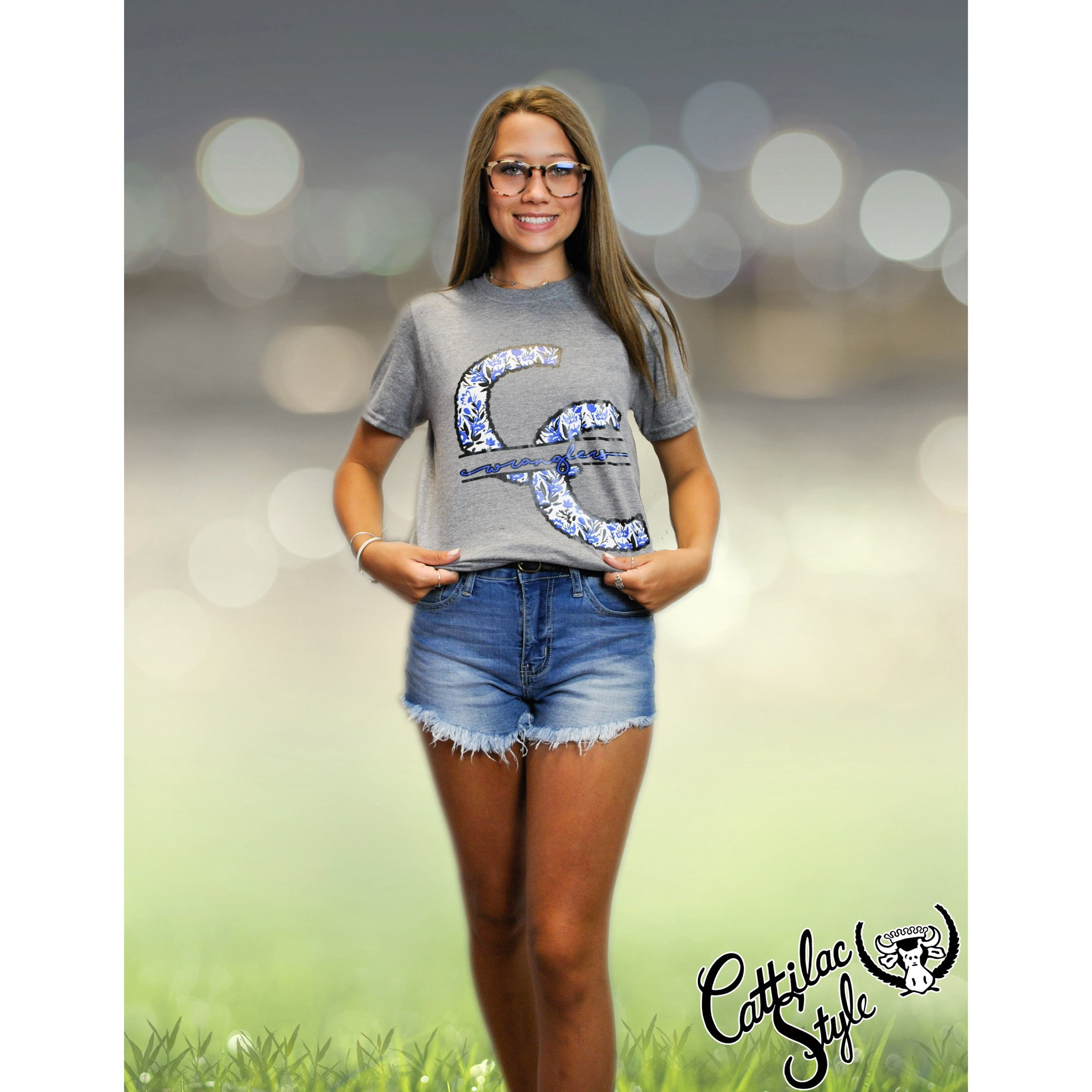 Cisco College Wranglers - Stitched Flowers T-Shirt