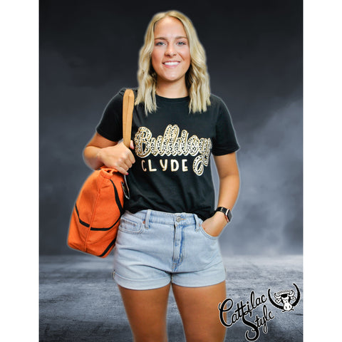 Clyde Bulldogs - Animal Print Script T-Shirt