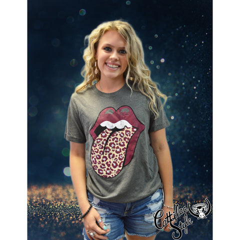 Rock N Roll Leopard Maroon & Metallic Silver School Spirit Tongue Graphic Tee