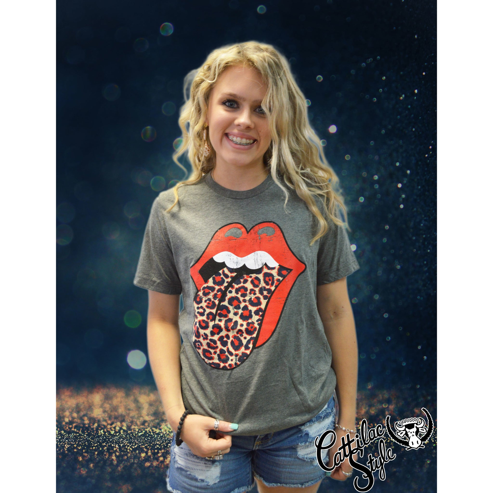 Rock N Roll Leopard Red & Navy School Spirit Tongue Graphic Tee