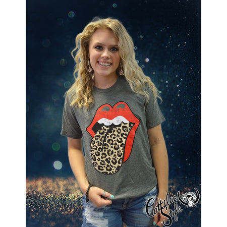 Rock N Roll Leopard Black & Metallic Gold School Spirit Tongue Graphic Tee