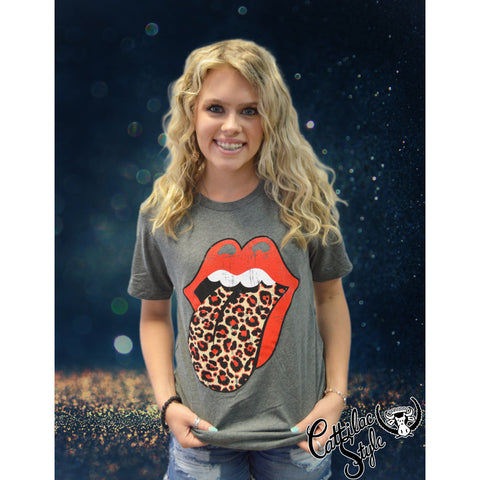 Rock N Roll Leopard Red & Black School Spirit Tongue Graphic Tee