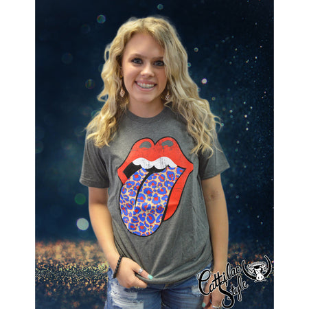 Rock N Roll Leopard Red & Royal School Spirit Tongue Graphic Tee