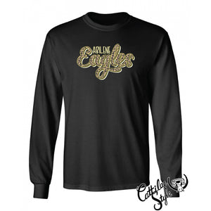Abilene High Eagles - Animal Print Script Long Sleeve T-Shirt