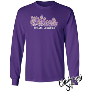 Abilene Christian University Wildcats - Animal Print Script Long Sleeve T-Shirt