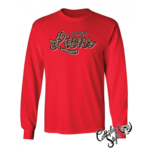 Albany Lions - Animal Print Script Long Sleeve T-Shirt