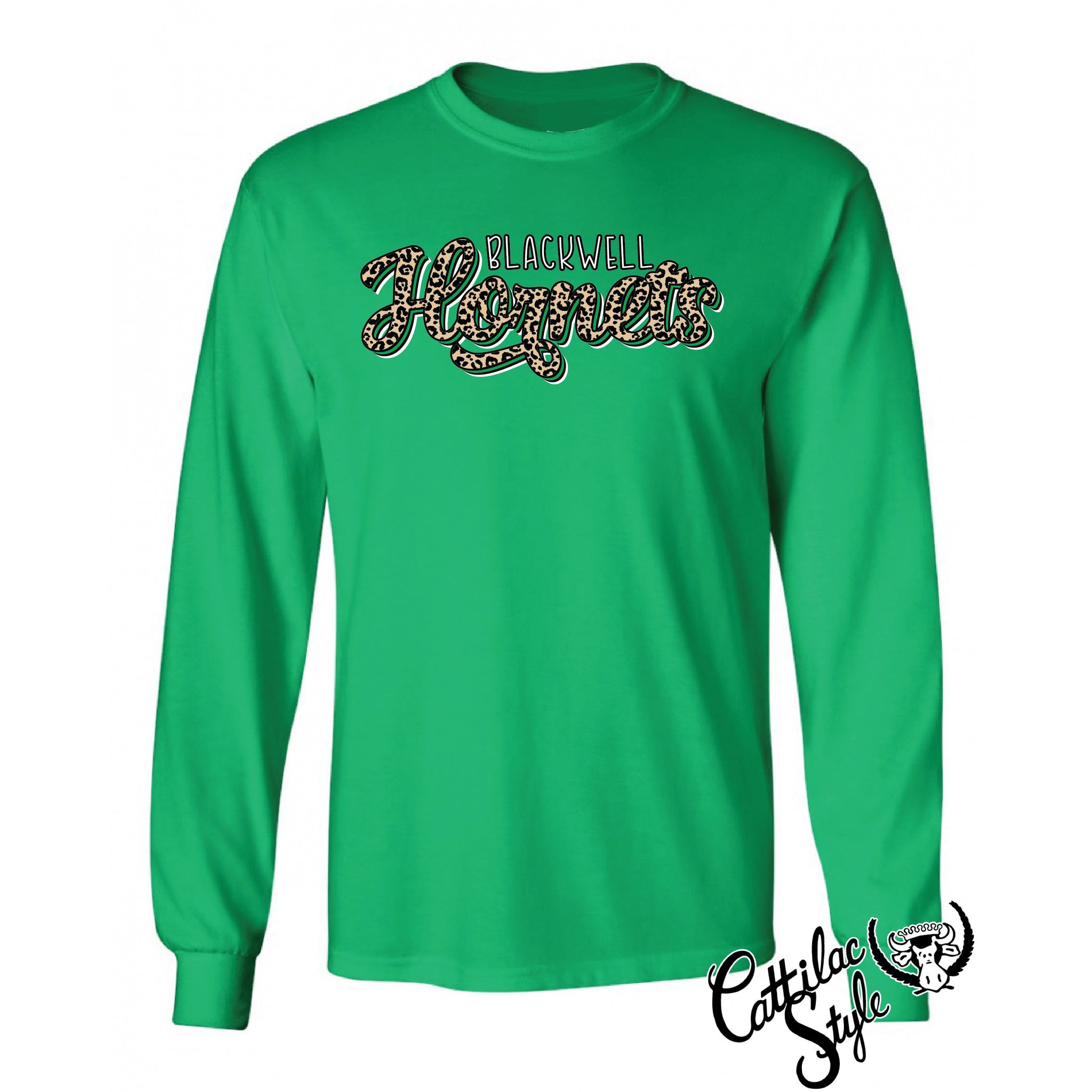 Blackwell Hornets - Animal Print Script Long Sleeve T-Shirt