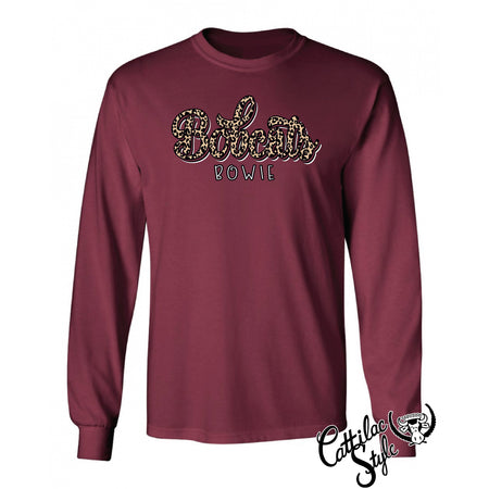 Bowie Bobcats - Animal Print Script Long Sleeve T-Shirt