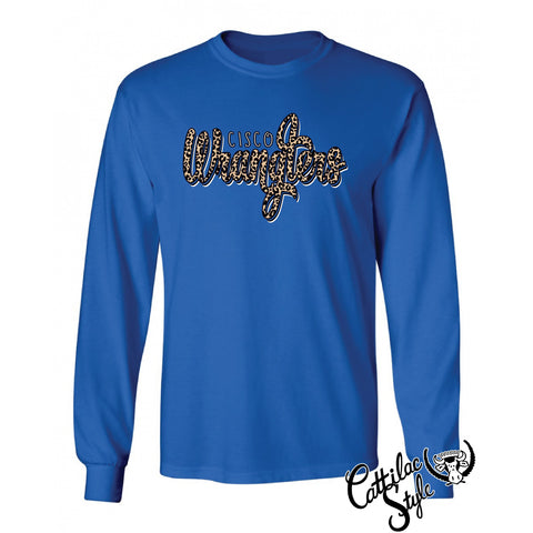 Cisco College Wranglers - Animal Print Script Long Sleeve T-Shirt