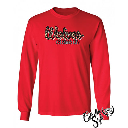 Colorado City Wolves - Animal Print Script Long Sleeve T-Shirt