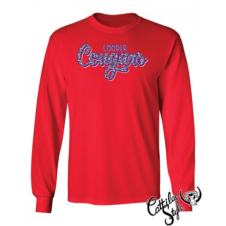 Cooper Cougars - Animal Print Script Long Sleeve T-Shirt