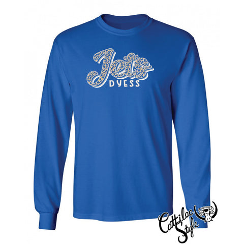 Dyess Jets - Animal Print Script Long Sleeve T-Shirt