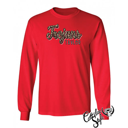 Taylor Trojans - Animal Print Script Long Sleeve T-Shirt