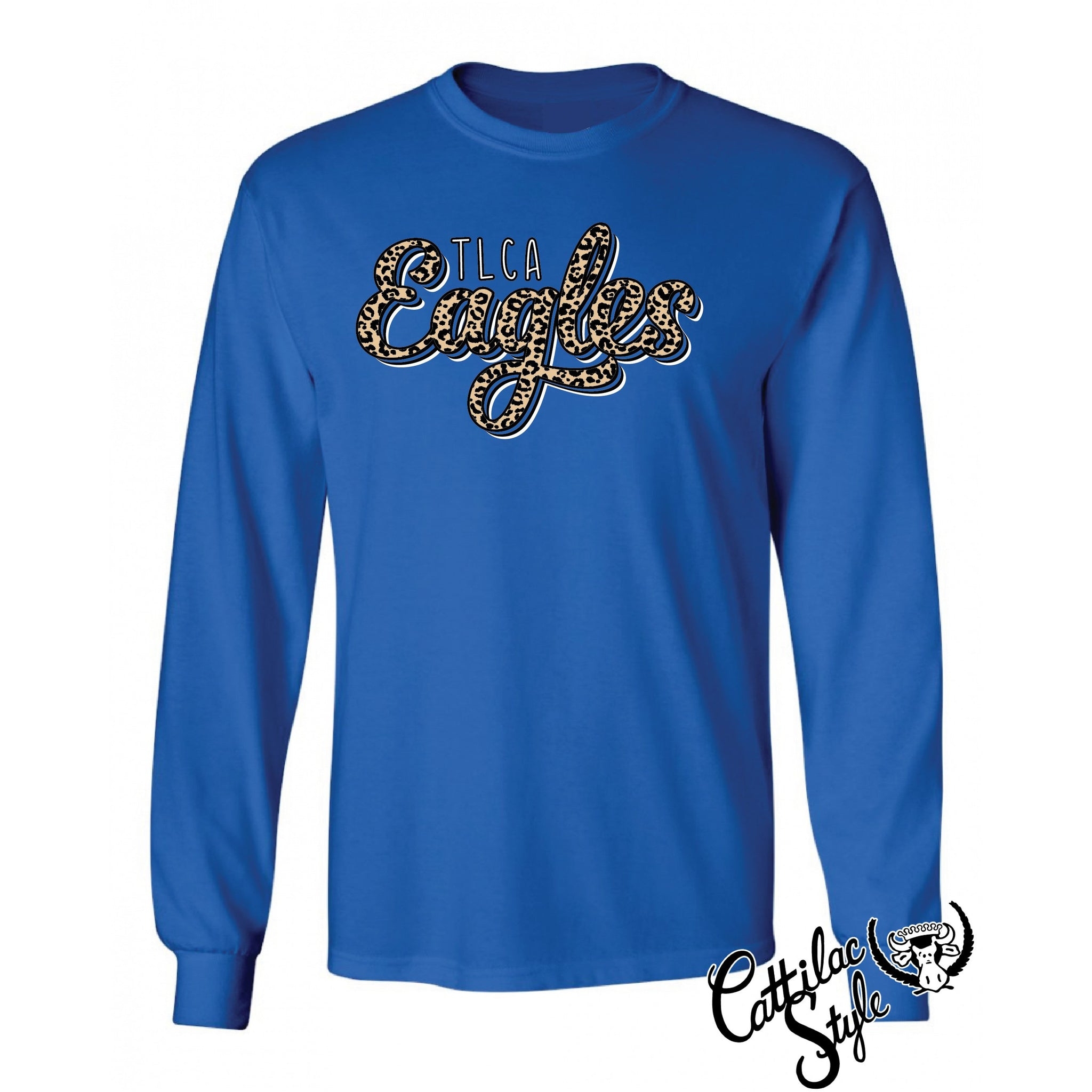 TLCA Eagles - Animal Print Script Long Sleeve T-Shirt