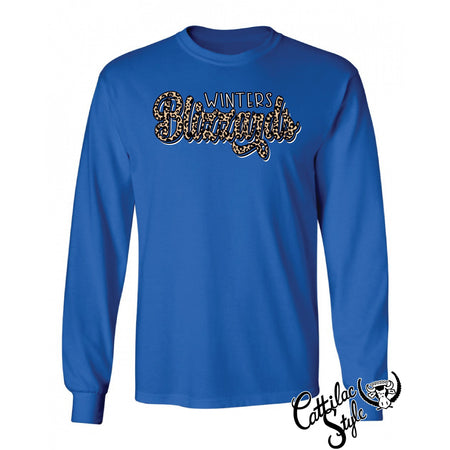 Winters Blizzards - Animal Print Script Long Sleeve T-Shirt