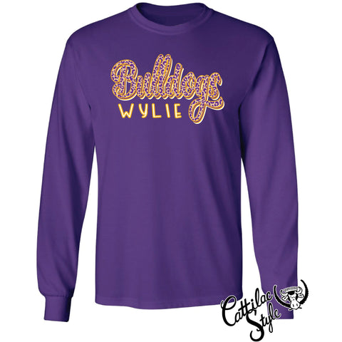 Wylie Bulldogs - Animal Print Script Long Sleeve T-Shirt
