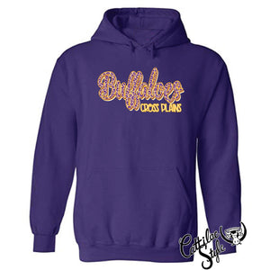 Cross Plains Buffaloes - Animal Print Script Hoodie