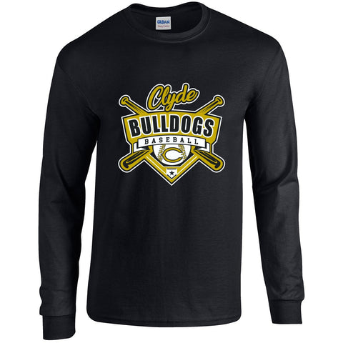 Clyde Bulldogs - Baseball Long Sleeve T-Shirt