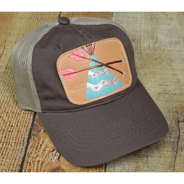 Mint Teepee Leather Patch on a Trucker Cap