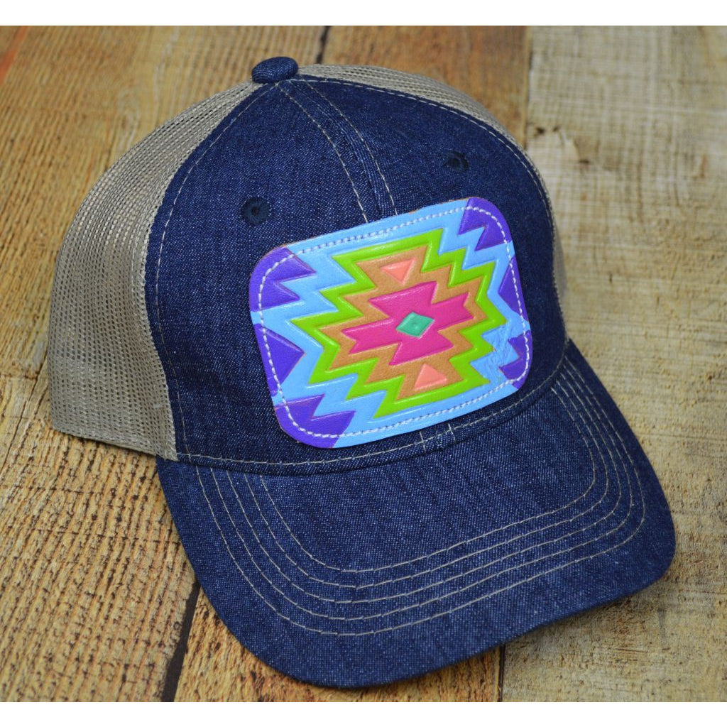 Bright Colored Aztec Leather Patch on a Trucker Cap