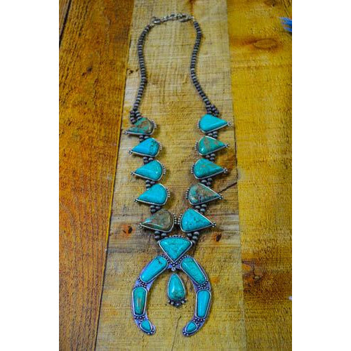 Mary Full Squash Blossom Natural Turquoise Necklace