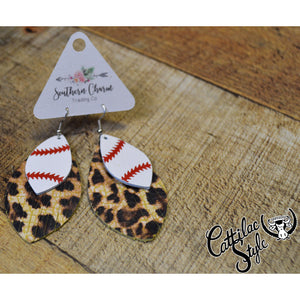 "2.5"" Leopard Baseball Fringe Earrings"
