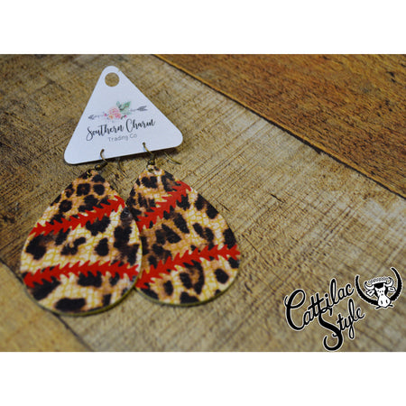 "2.5"" Leopard Baseball/Softball Teardrop Earrings"