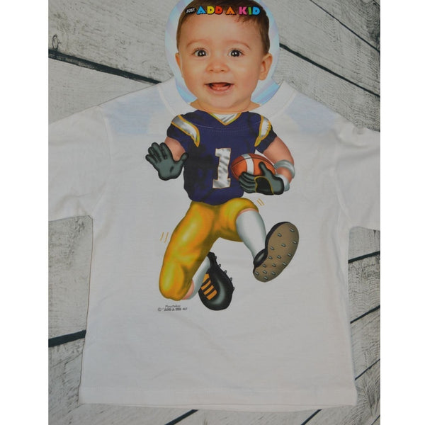 Purple & Gold Football Player T-Shirt