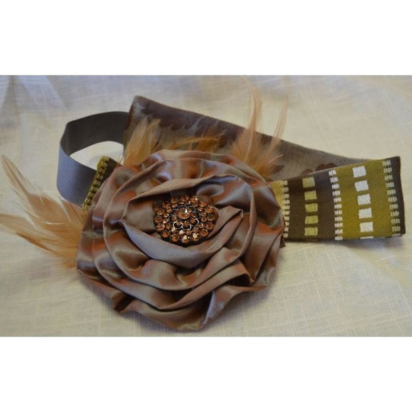 Headband - Brown Squares/Floral
