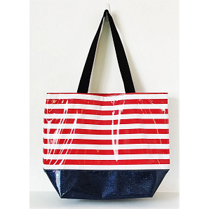 Large Tote - Stripe Red/Blue