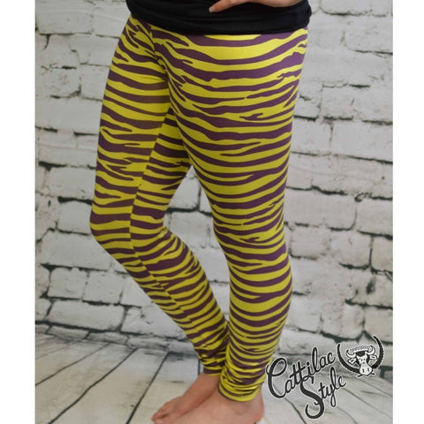 Purple & Gold Zebra Leggings