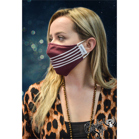 Reversible Mask - Maroon & White