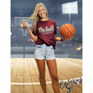 McMurry University War Hawks - Animal Print Script T-Shirt