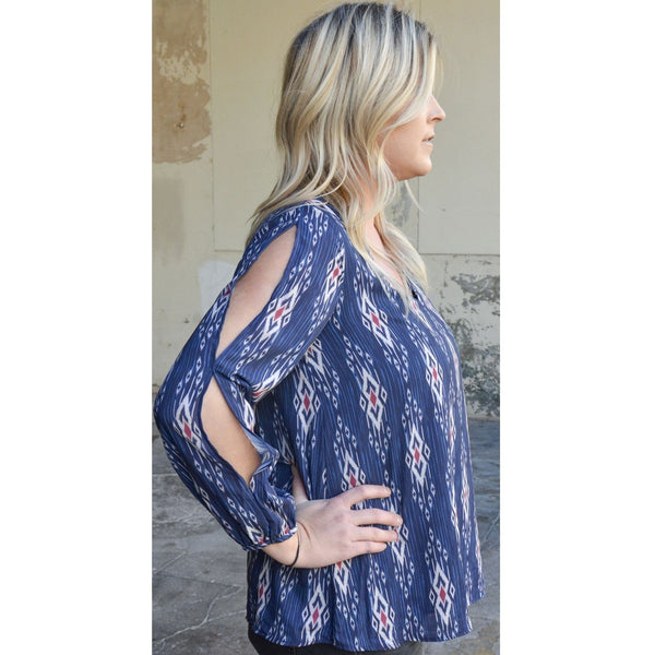 Aztec Cold Shoulder Top