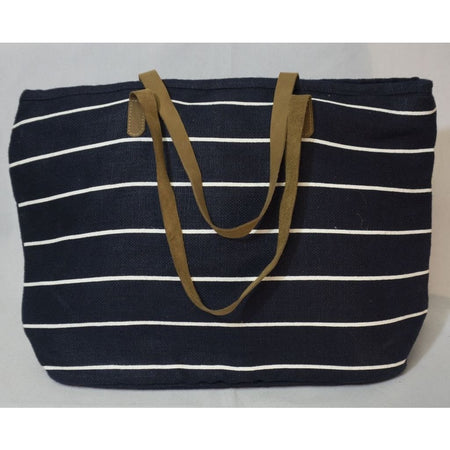 Pinstripe Tote in Navy/White
