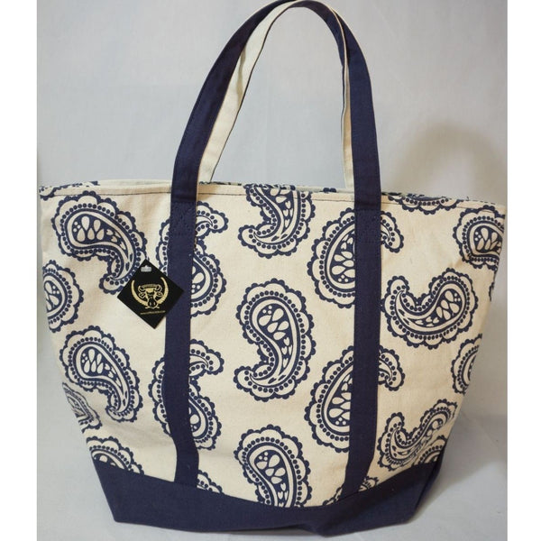 Navy Paisley Canvas - Med. Boat Bag