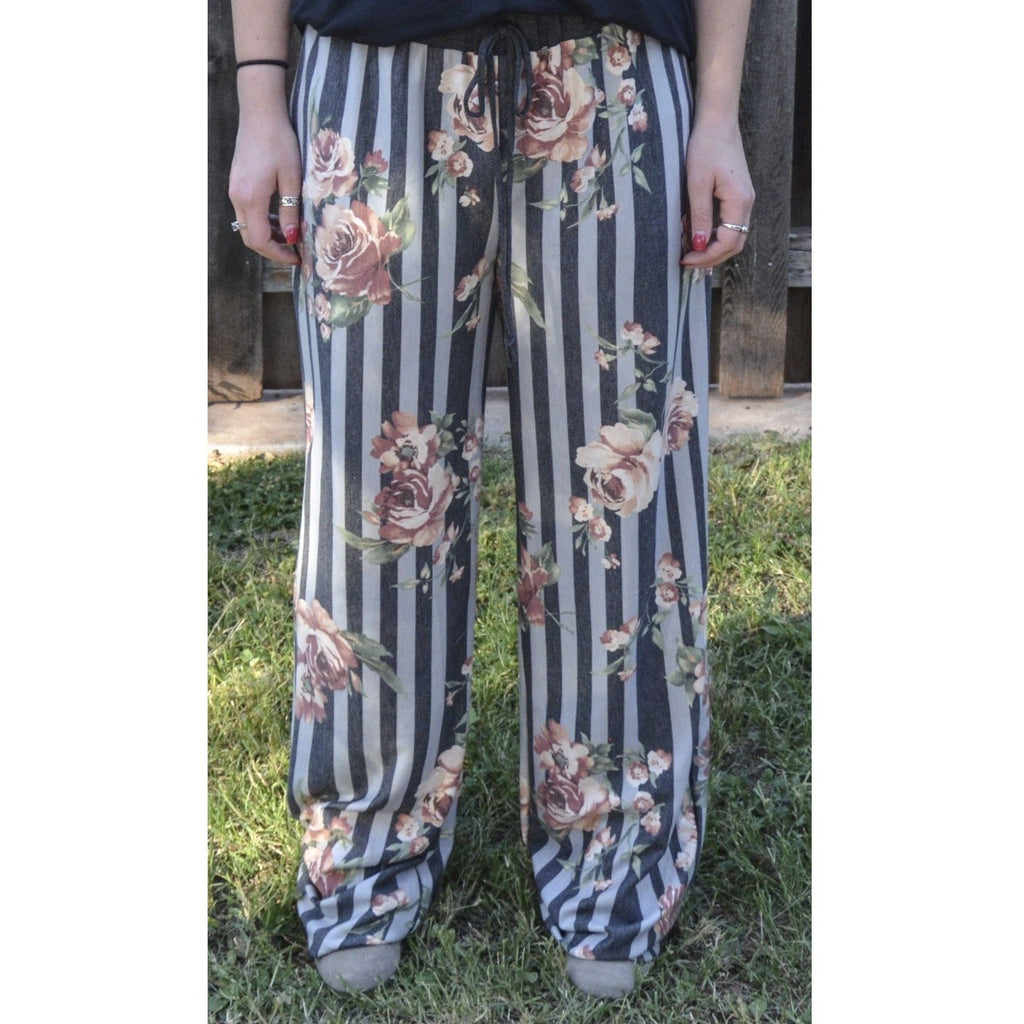 Floral & Stripe French Terry Pant - Plus