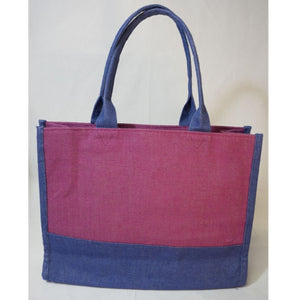 Jute Tote - Purple and Fuchsia