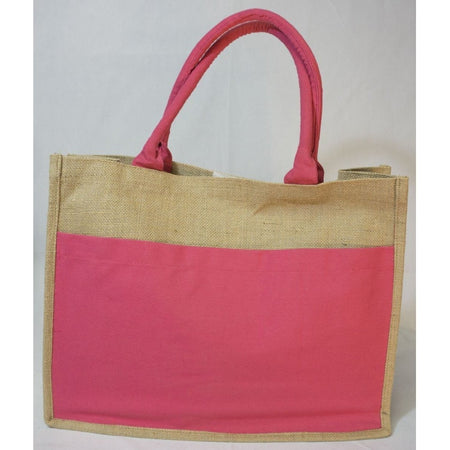 Jute Pocket Tote - Hot Pink