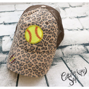 Rhinestone Softball Cap - Animal Print