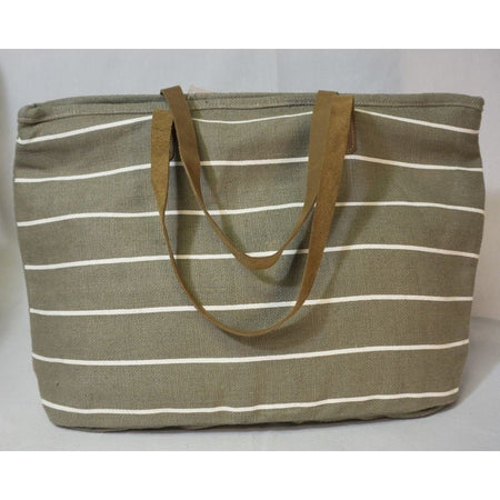 Pinstripe Tote in Grey/White